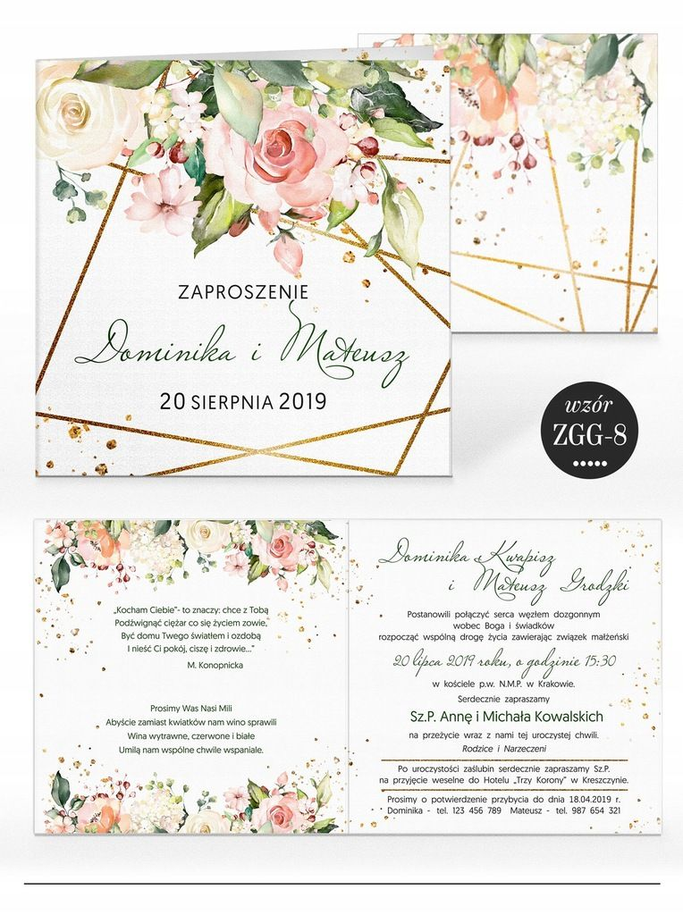 Zaproszenia Slubne Rustykalne Kwiaty Koperta Fun Wedding Invitations Wedding Invitations Handmade Invitations