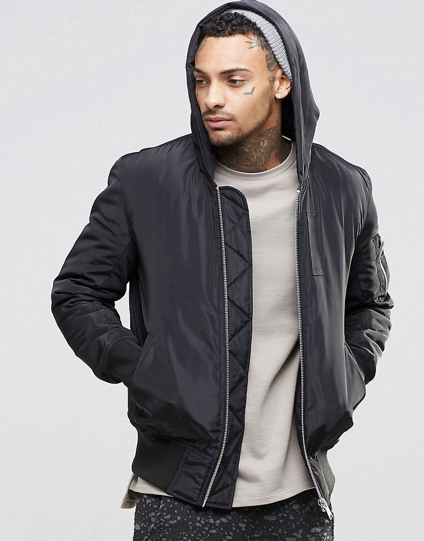 Asos Hooded Bomber Jacket With Ma1 Pocket In Black Black Hooded Bomber Jacket Bomber Jacket Mens Zip Up Jackets [ 1110 x 870 Pixel ]