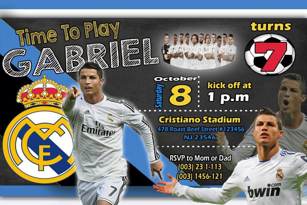 cristiano ronaldo soccer birthday invitation boy party birthday