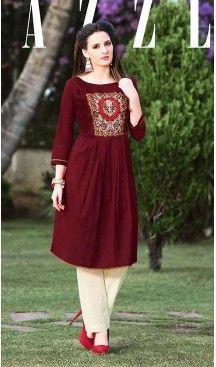 Maroon Color Cotton A-line Style Readymade Kurtas/Kurtis for Women   FH439469478
