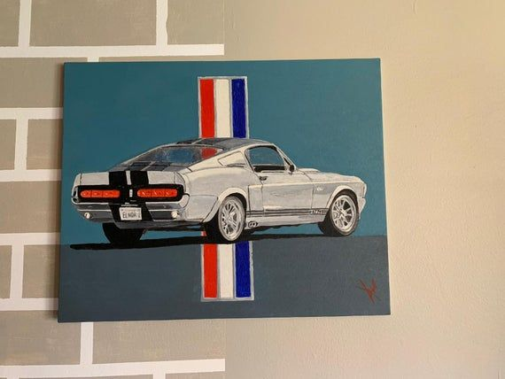 Ford Mustang Eleanor Acrylic Painting on Canvas | Etsy