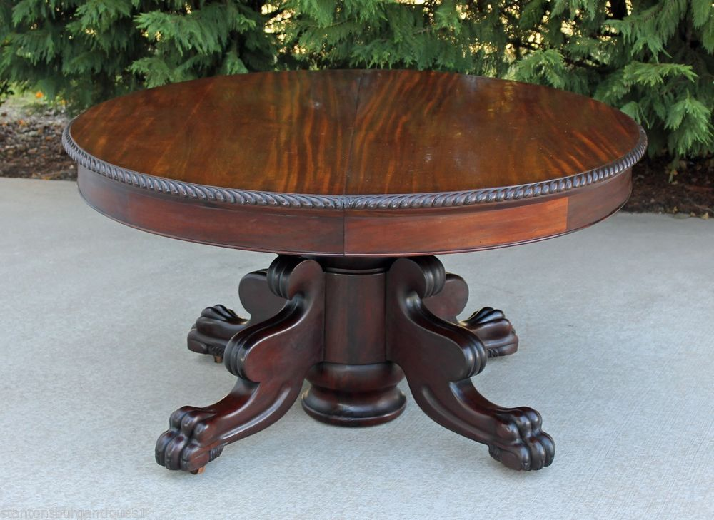 American Empire Solid Mahogany Dining Table 3 Leaves Paw Feet Gadrooned Trim
