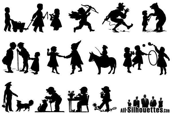 Children Vector Silhouette Archives Sv Stock Blog Kids Silhouette Silhouette Illustration Running Silhouette
