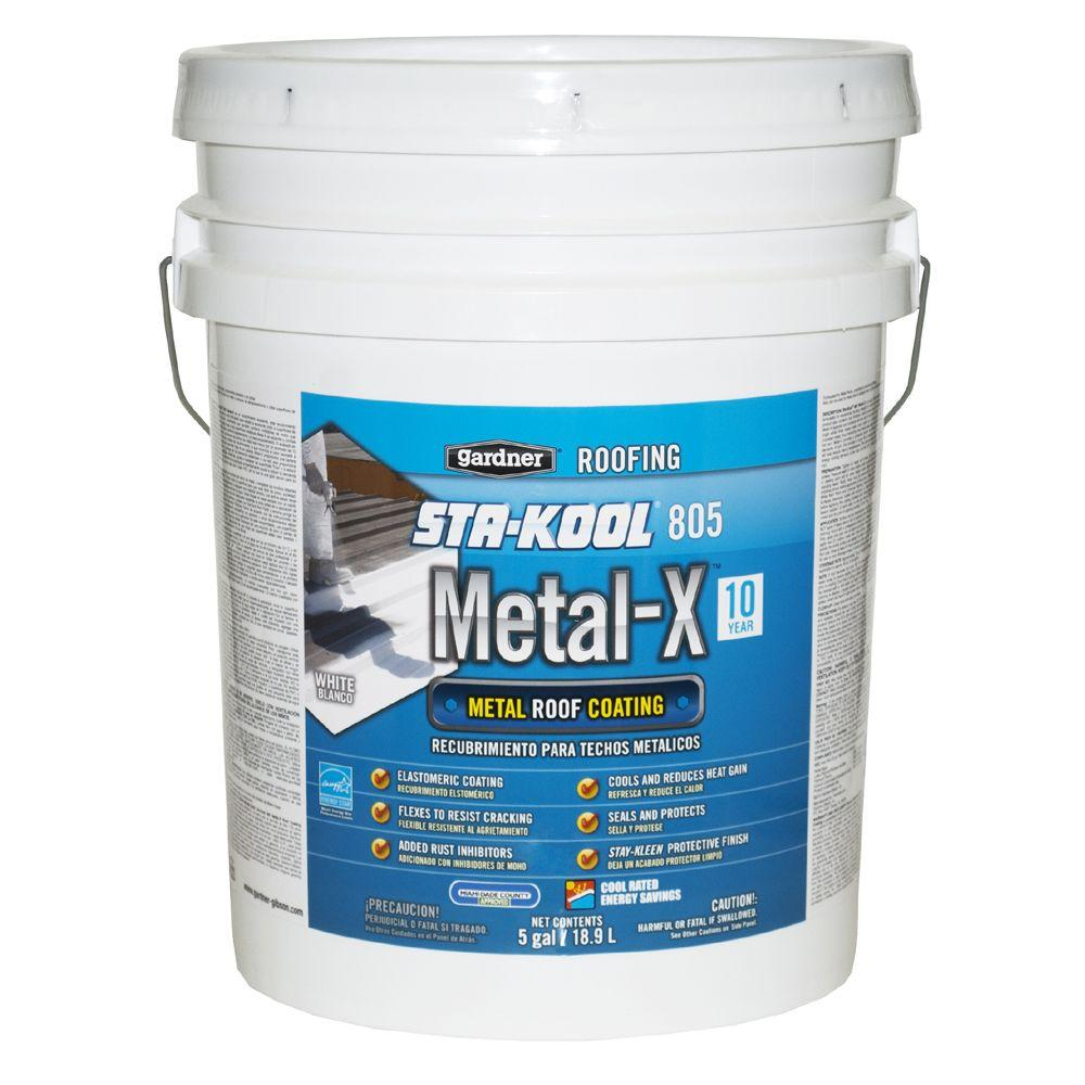 Gardner 5 Gal Sta Kool 805 Metal X Metal Roof Coating Sk 8055 The Home Depot Metal Roof Coating Roof Sealant Roof Coating