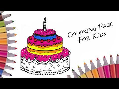 раскраска торт со свечами на день рождения разукрашиваем