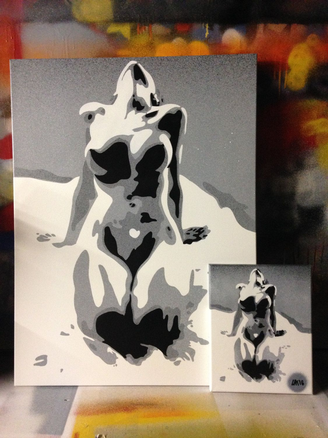 Abstract nude painting in grey white black canvas bright bold beauty