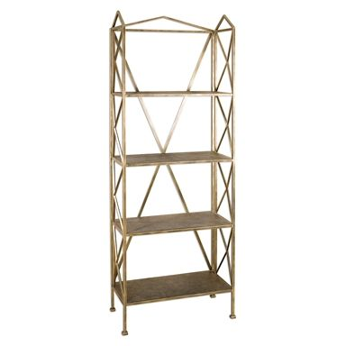 24587 Yulia Etagere W 30 D 14 H 77 $747.50 #OpenShelving #GoldFinish #Shallow #3Foot #2Foot