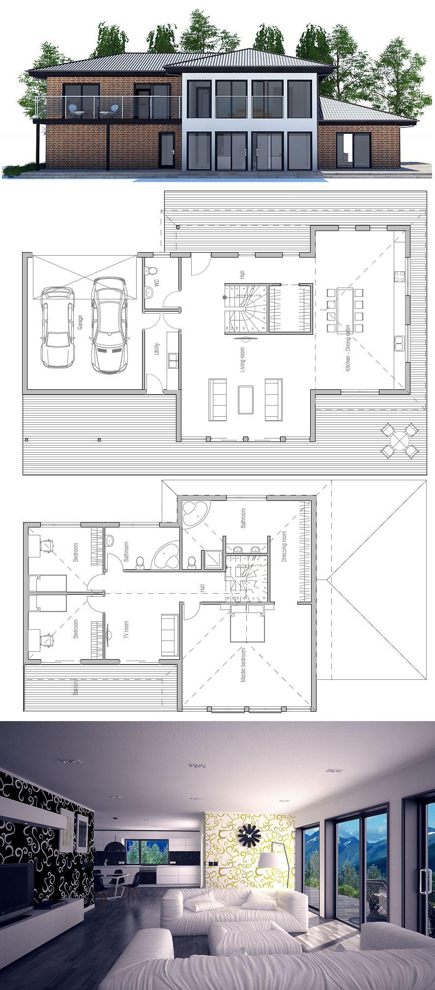 Hausplan · GrundrisseHausbauTraumhausWohnenModernes Haus ... Awesome Design