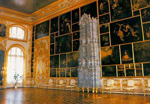 Salle des Peintures (13) - Palais Catherine - Tsarskoie Selo - Réalisée par Bartoloméo Rastrelli.
