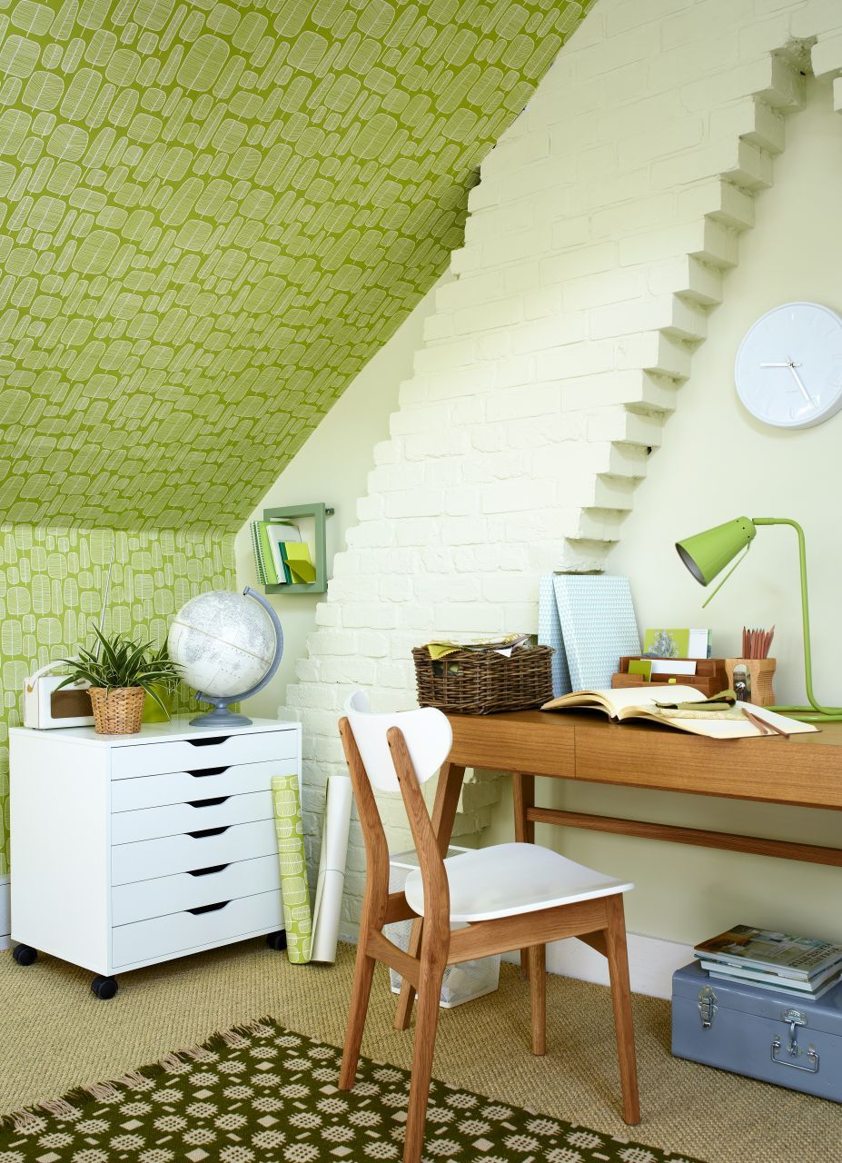 Use loft space as a home office and make a feature f the slanted ...