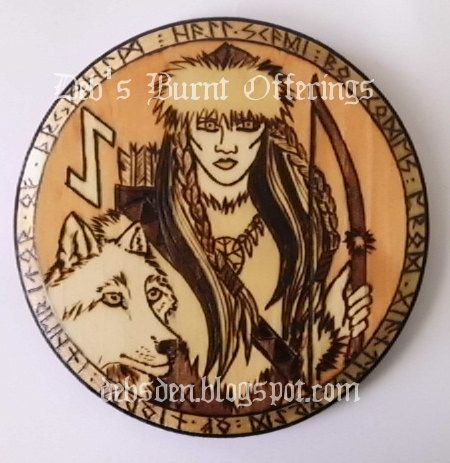 Skadi  Wood Plaque Pyrograph Heathen Viking Norse Goddess