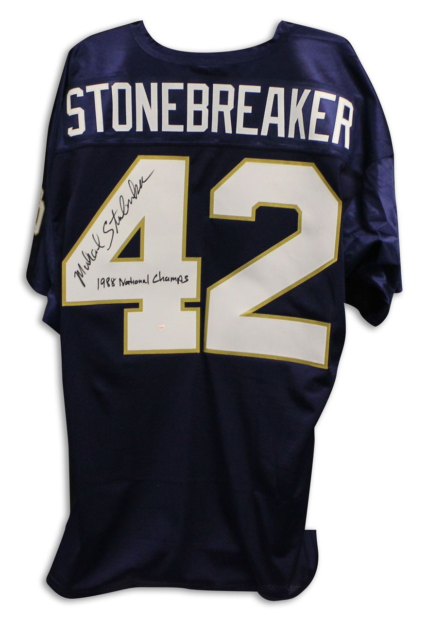Michael stonebreaker notre dame fighting irish autographed