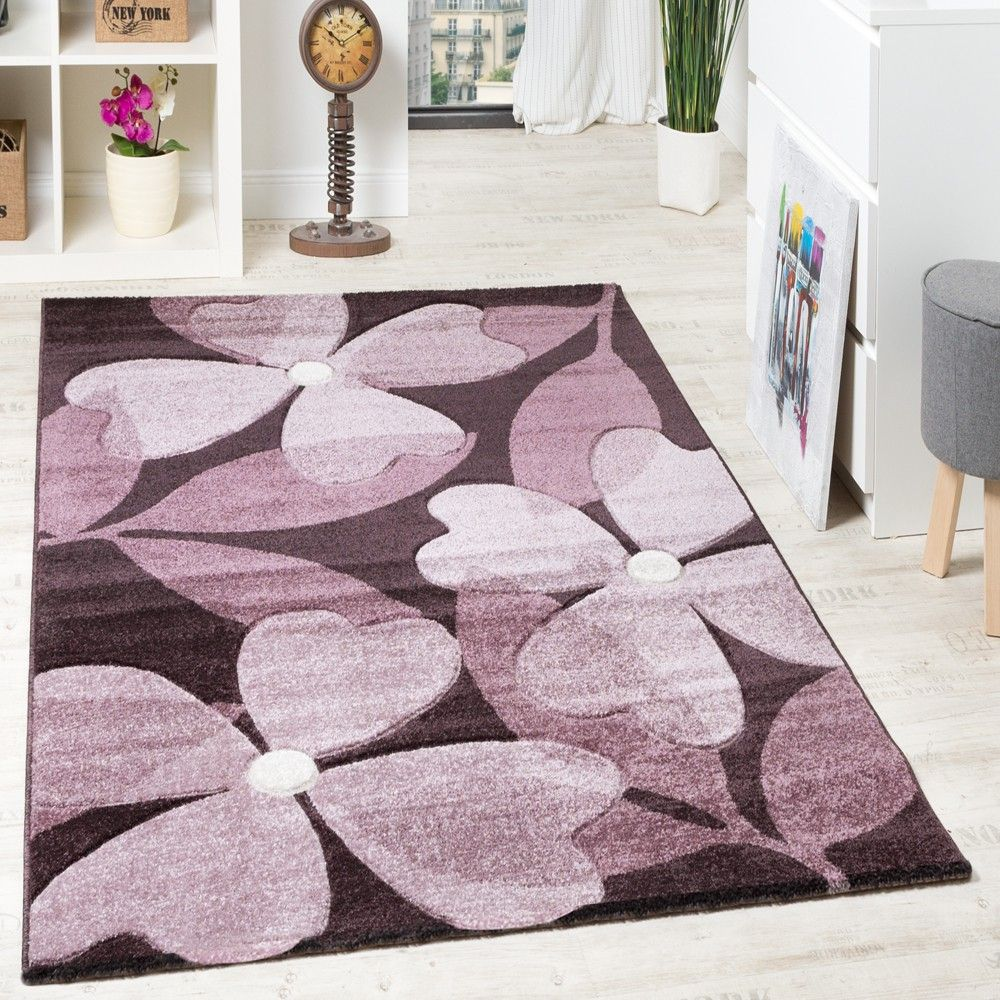 Kinderteppich blume  Designer Teppich Hochwertig Modern Blumen Muster Meliert Kleeblatt ...