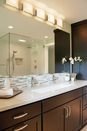 One Sink Two Faucets And Lighting Fixture Design In Bathroom