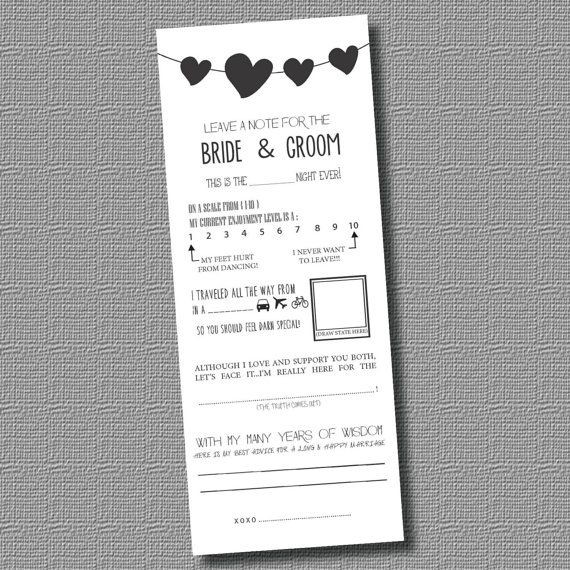 INSTANT DOWNLOAD PDF Leave a Note for the Bride and Groom- Mad - white paper pdf
