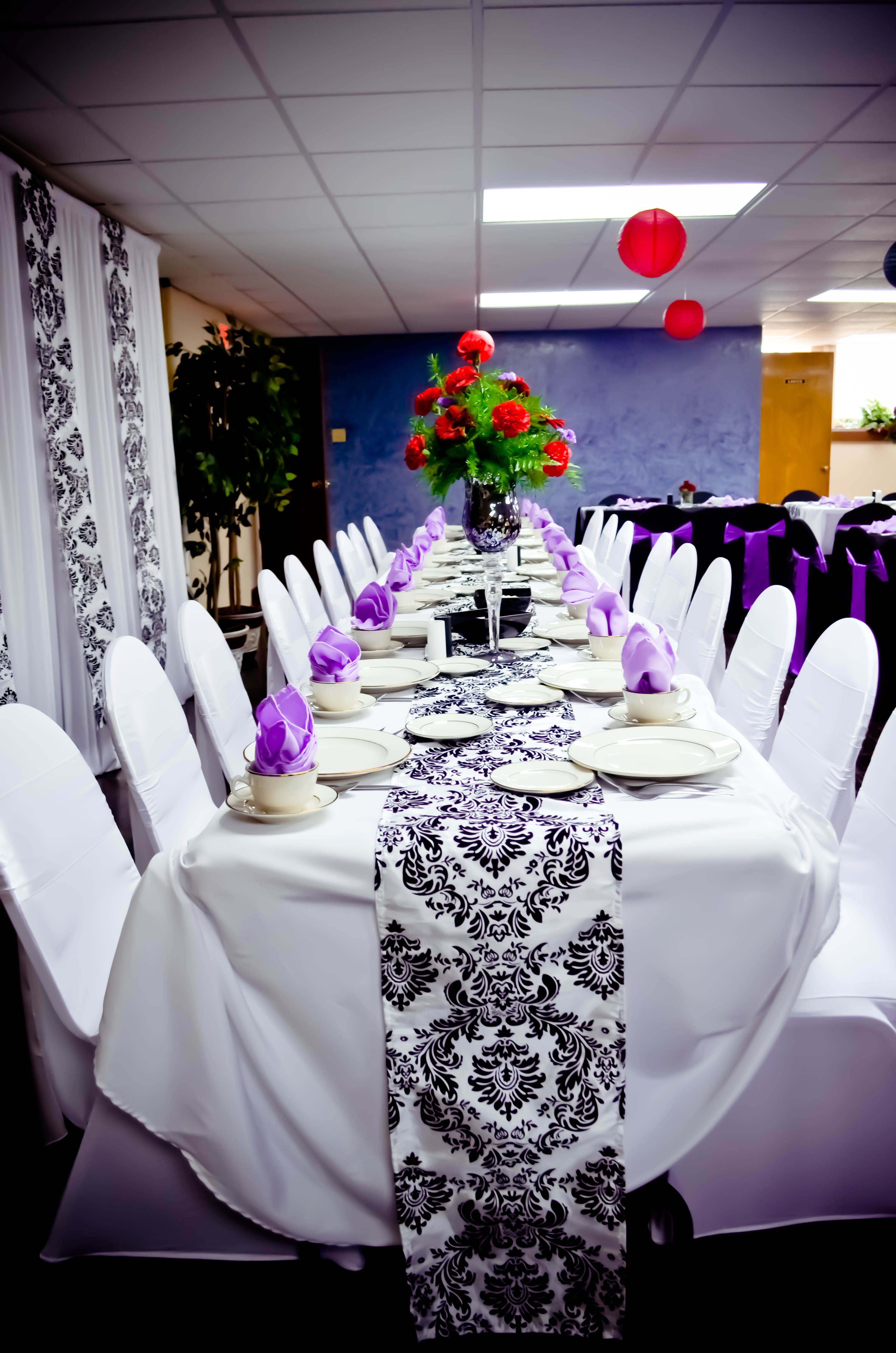 Purple Chair Sashes For Weddings Unusual Uk Event Black And White Spandex Covers Satin