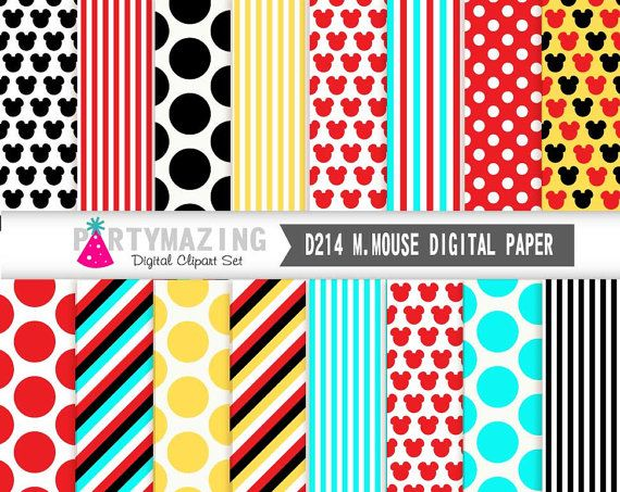 Mickey Mouse Digital Paper Pack Clubhouse Digital by Partymazing