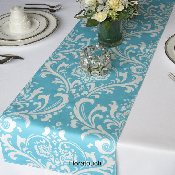 Merveilleux Traditions White Damask On Light Turquoise Pool Blue Wedding Table Runner