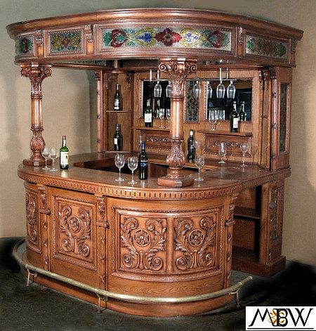 Awesome 8Ft Oak Mahogany Canopy Round Home Pub Bar W Stained Glass Download Free Architecture Designs Embacsunscenecom