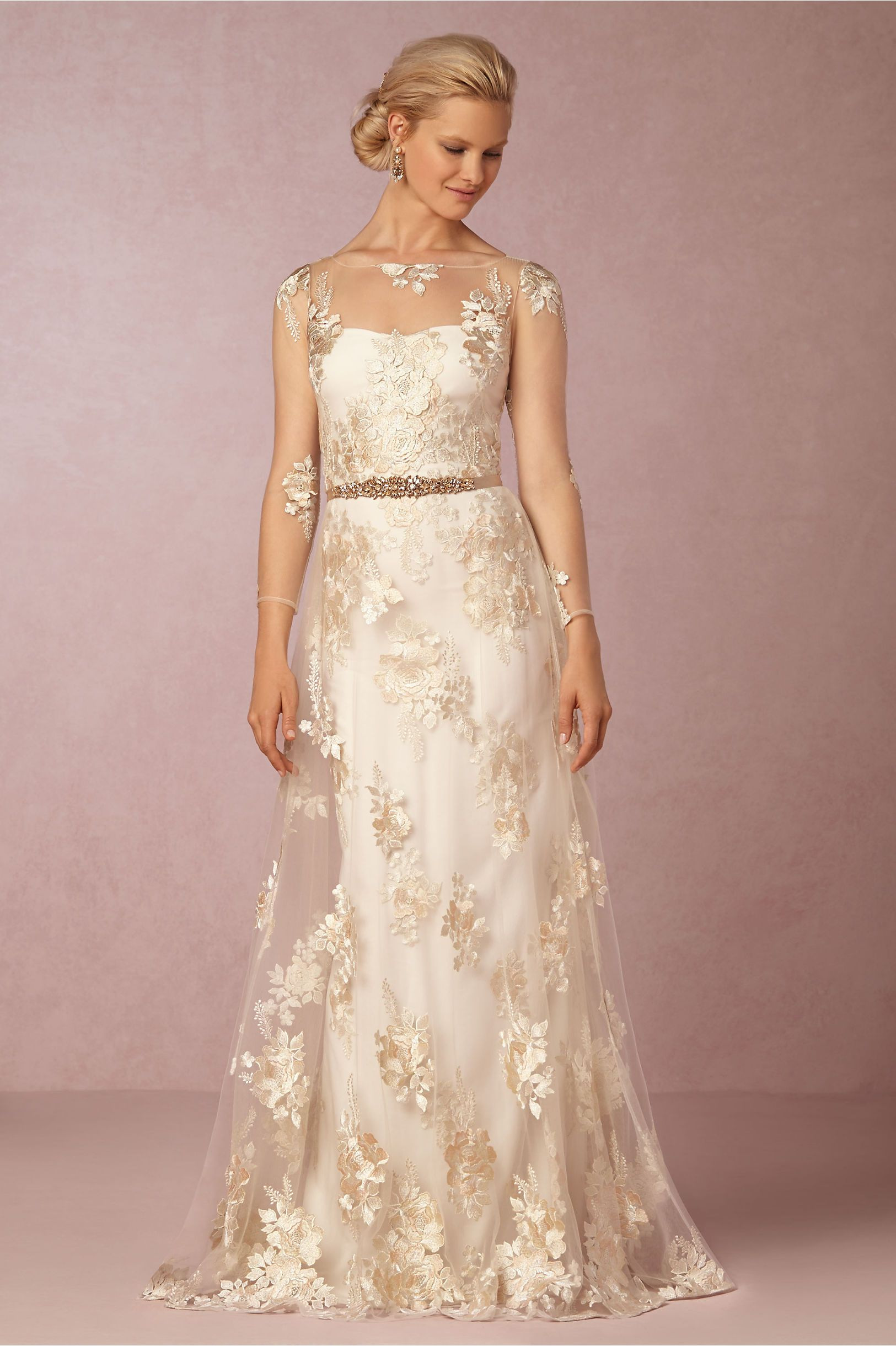 gold embroidered lace wedding dress | Julianna Gown from BHLDN ...