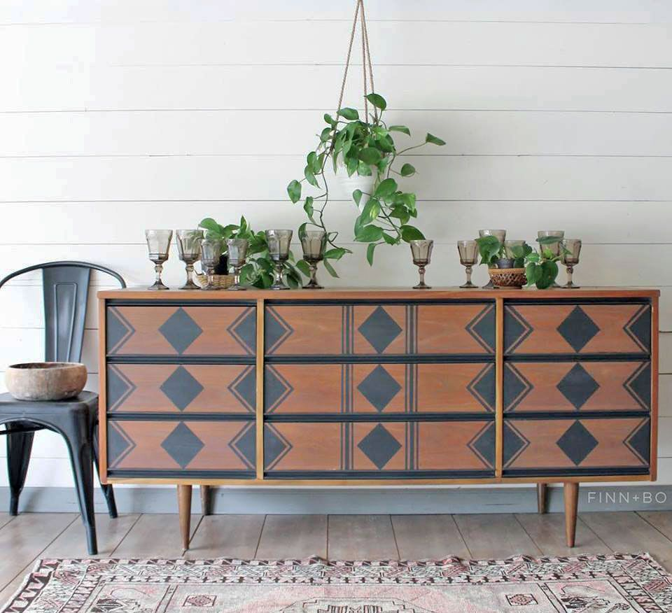 Queenstown Gray Stenciled Dresser