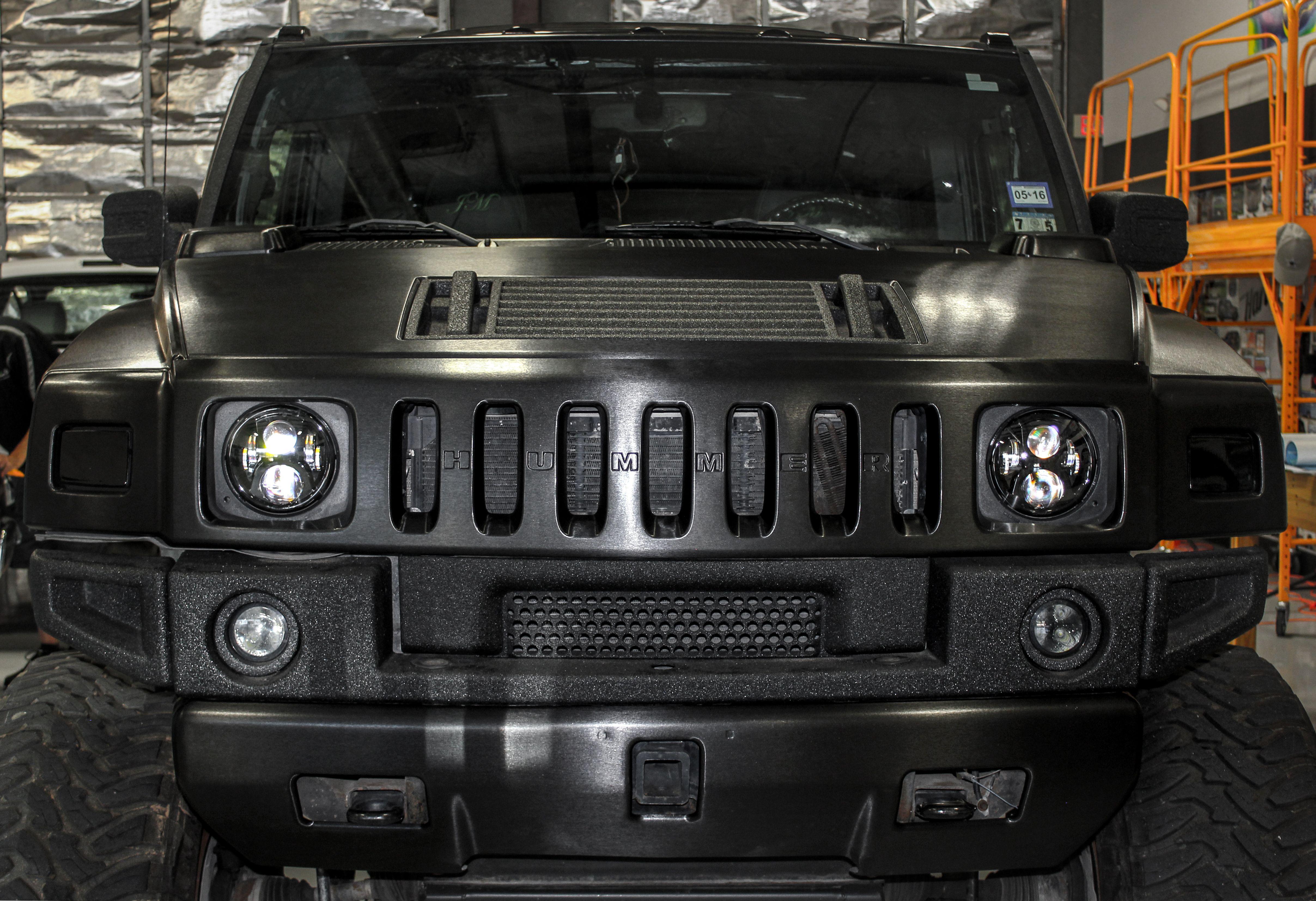 Black Brushed Metal Hummer Custom Cars Car Wrap Car