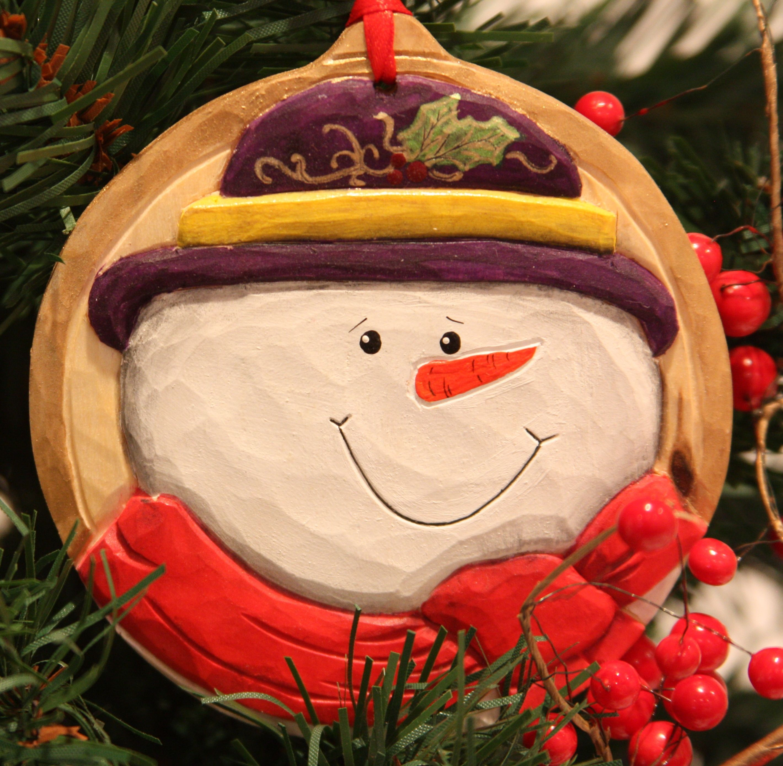 A Snowman Christmas Ornament I Carved Called Bavarian