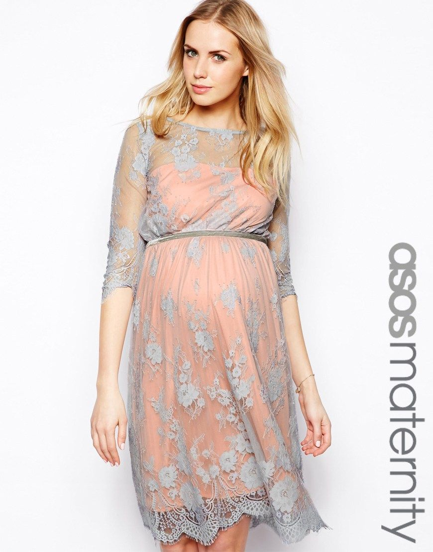Image 1 of asos maternity exclusive lace midi dress with scalloped image 1 of asos maternity exclusive lace midi dress with scalloped detail ombrellifo Image collections
