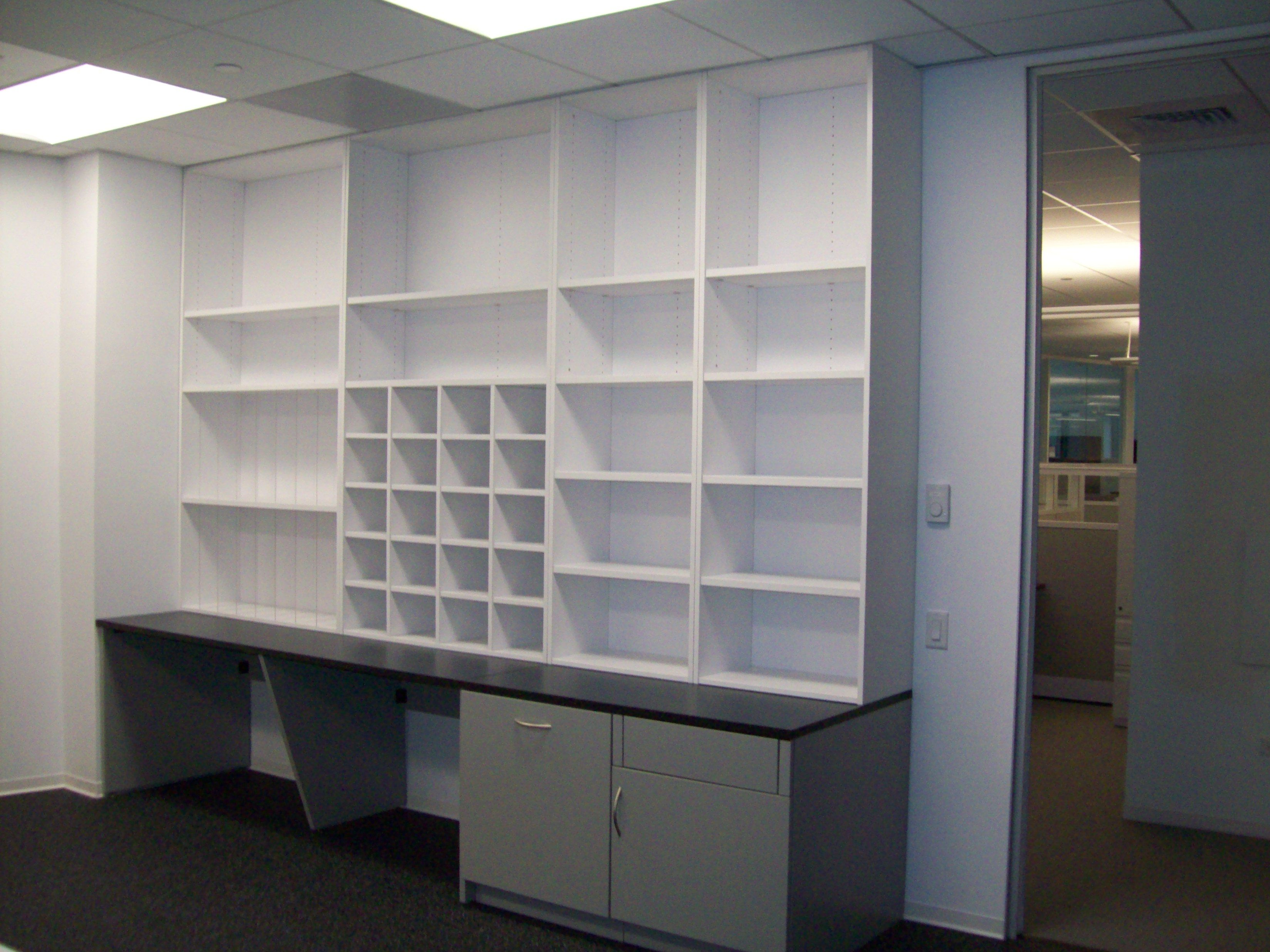 Client Was Looking For Open Shelving And Some Open Mail Slots For Their  Office