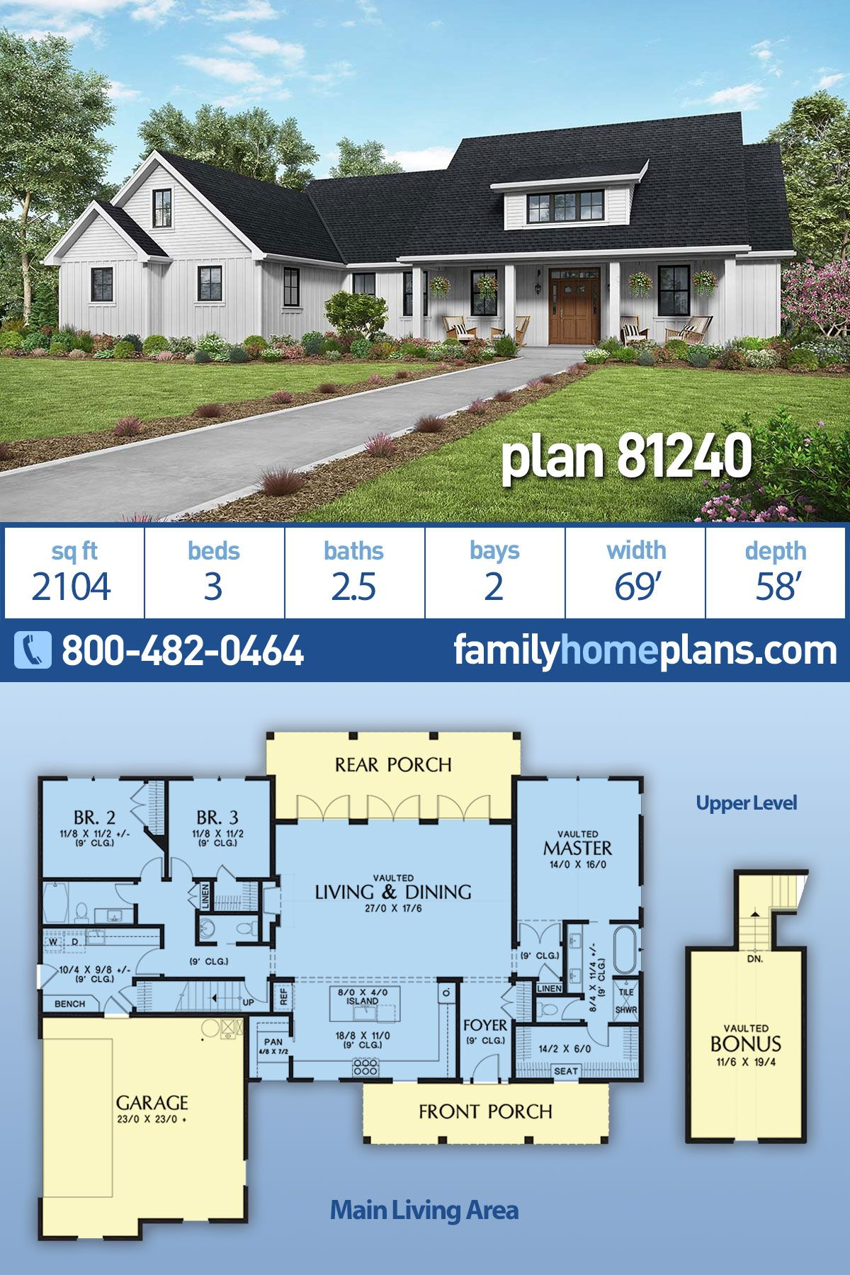 Photo of Modern Style House Plan 81240 with 3 Bed, 3 Bath, 2 Car Garage