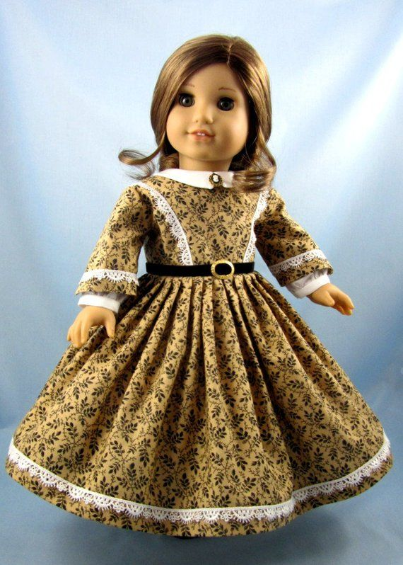 Doll clothes 18inch - 1860s Civil War Era Dress - 18 Inch Doll Clothing - Fits American Girl - Black Tan Vines - Historic Doll Clothing #dressesfromthesouthernbelleera