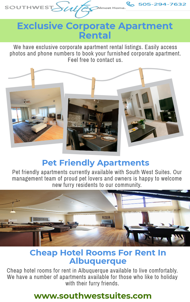 We have exclusive corporate apartment rental listings