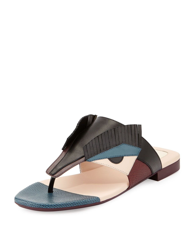 6d3ef3977b78 Fendi Bug Monster Leather Flat Thong Sandal