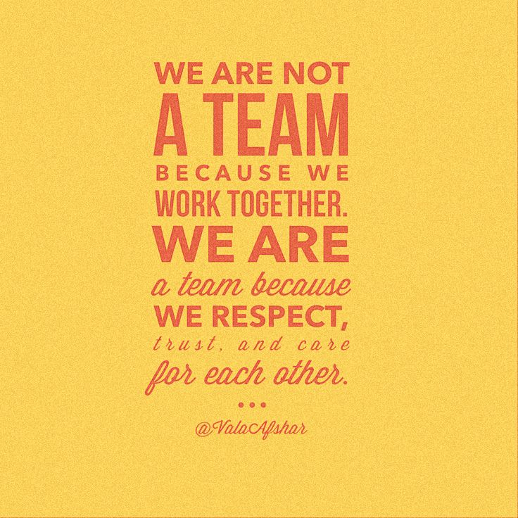 We Are Not A Team Because We Work Together We Are A Team Because We Trust Respect And Care For Each Other Va Business Quotes Quotes Inspirational Quotes