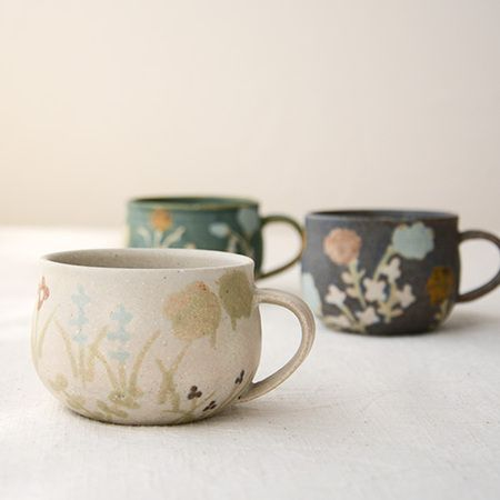 Macaron 沖澤真紀子 草マグhana マカロンマグカップコーヒーカップ作家の器陶器 陶器のマグカップ コーヒーカップのデザイン コーヒーカップ おしゃれ