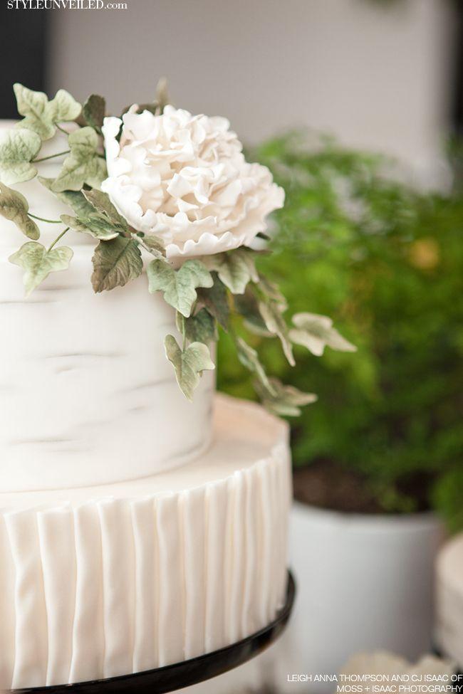 Style Unveiled - Style Unveiled | A Wedding Blog - Elegant Wedding Cake with FlowerDetail