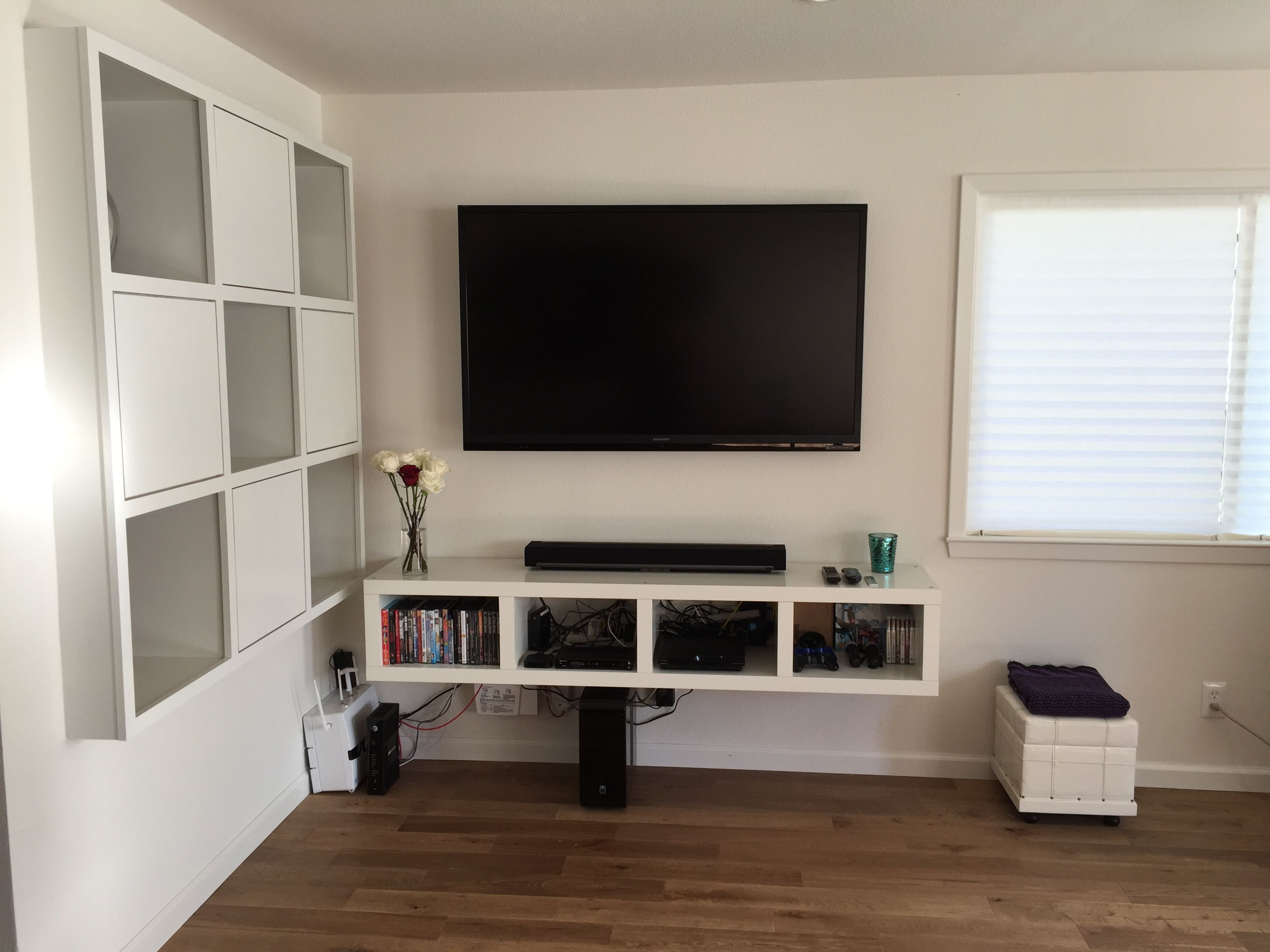 ikea bookshelf converted to floating tv stand expedit lack lifehack ikeahack