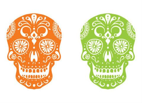 Day of the Dead Skull Temporary Tattoo Set- myTaT.com Two is always better!  Cut them apart and share with a friend.  #halloween #temporarytattoos