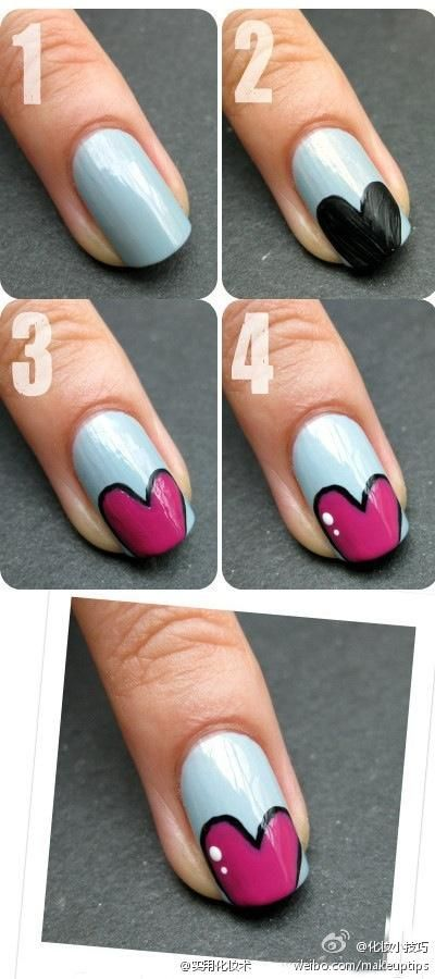 Cool heart nail polish design (if only I knew how to paint my nails ...