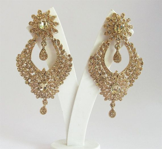 Long Gold Antique Rhinestone Earrings For Bridal Wedding South Indian Jewelry Copper