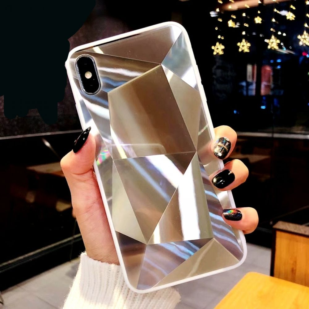 Diamond texture mirror phone case for iphone 7 8 6s 6 in