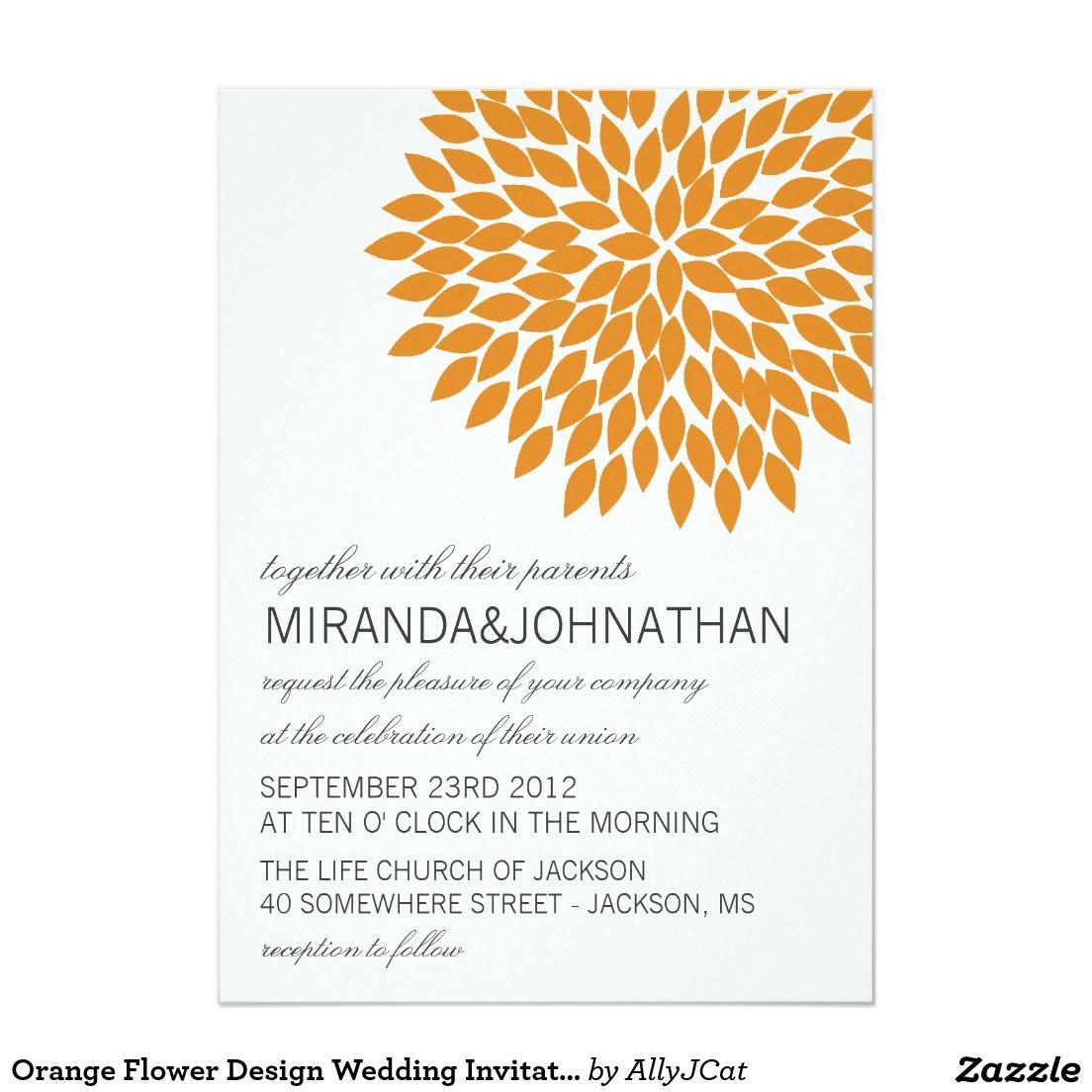 Orange flower design wedding invitations 5 x 7 invitation card orange flower design wedding invitations stopboris Choice Image