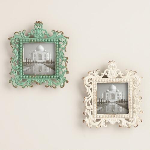 White and Aqua Magnetic Square Frames Set of 2 | World Market ...