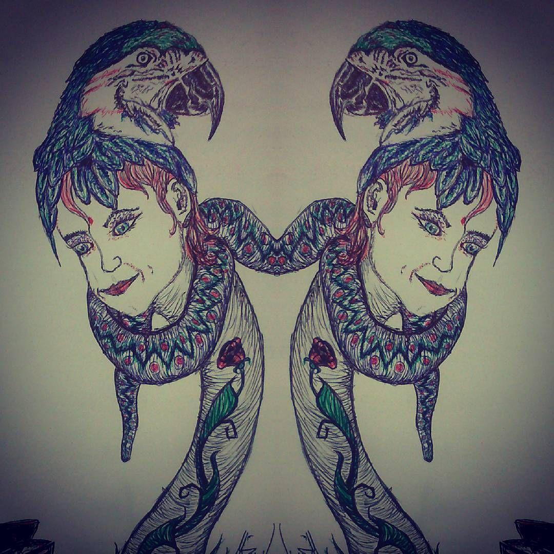 Fast sketch for a great week #sketch #drawingtime #artistatwork #inkdrawing #snake #kakadu #redhair #rose #lifeloverart #drawing #boredaf #makeart #likeit #followme