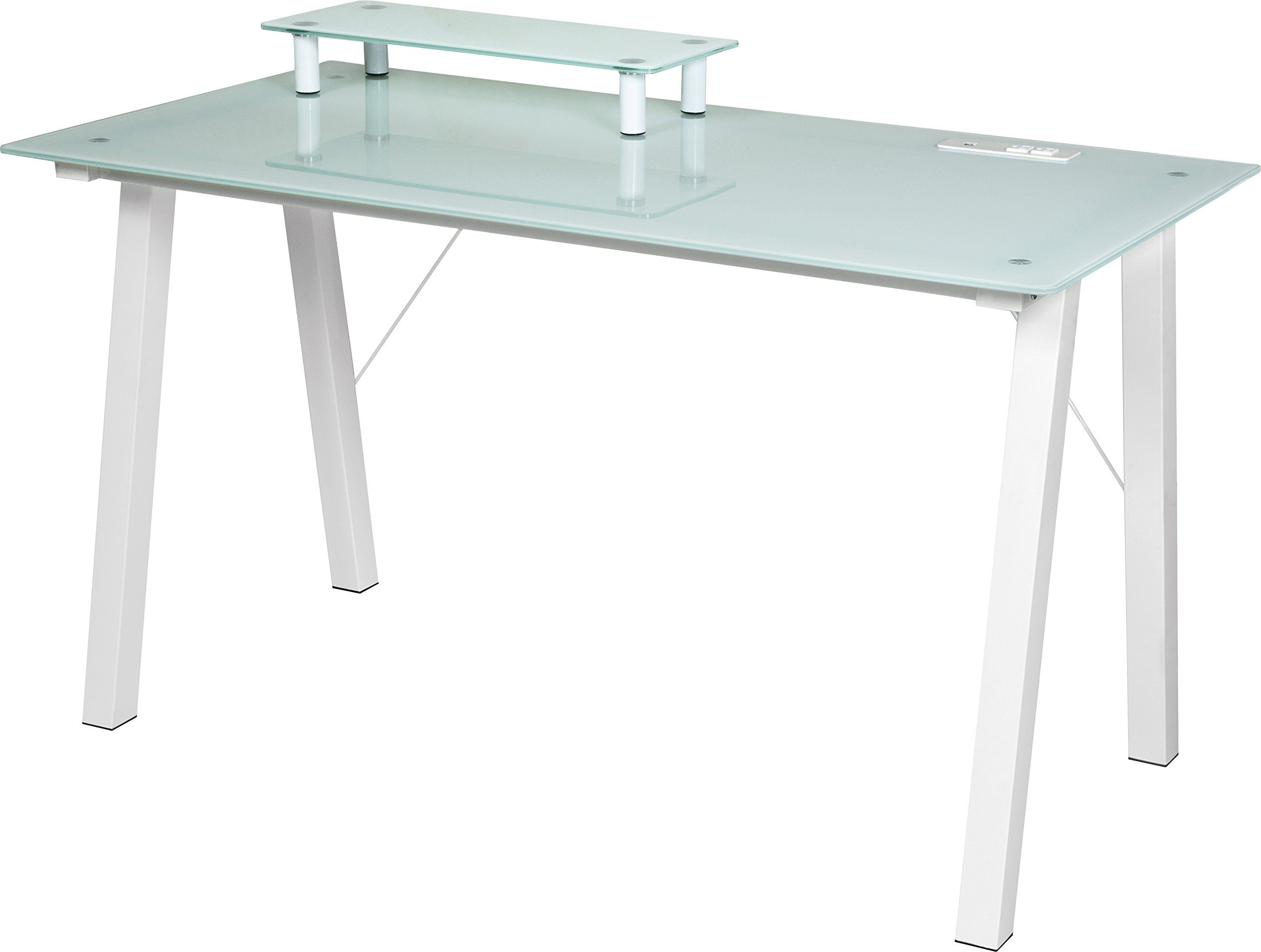 eSpace Simply Glass Desk with USB and A C Charging and Desktop
