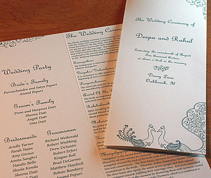 peacock themed wedding programs in our sarah design invitations
