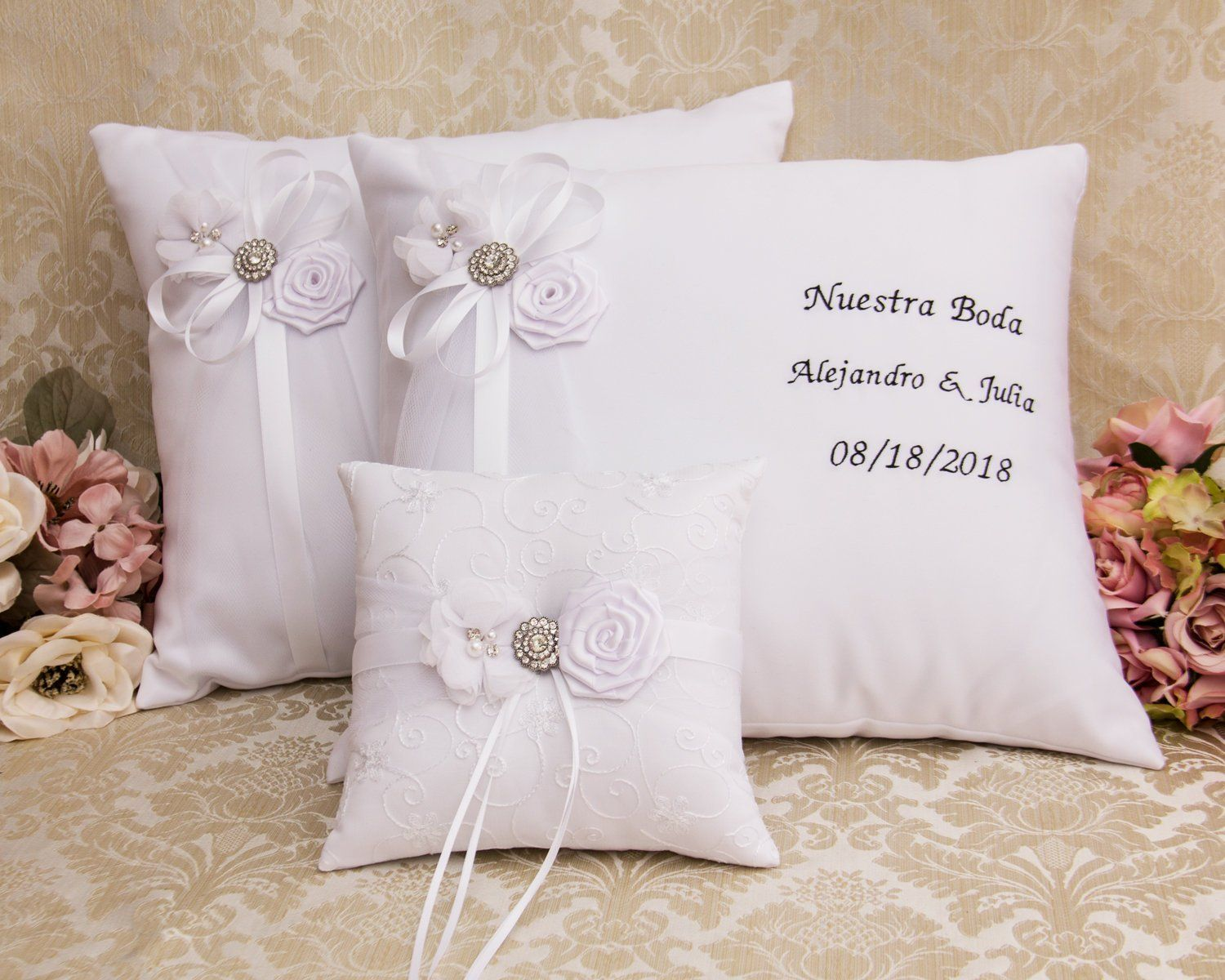 Set of 2 Custom Color Accent Ring Bearer Pillows