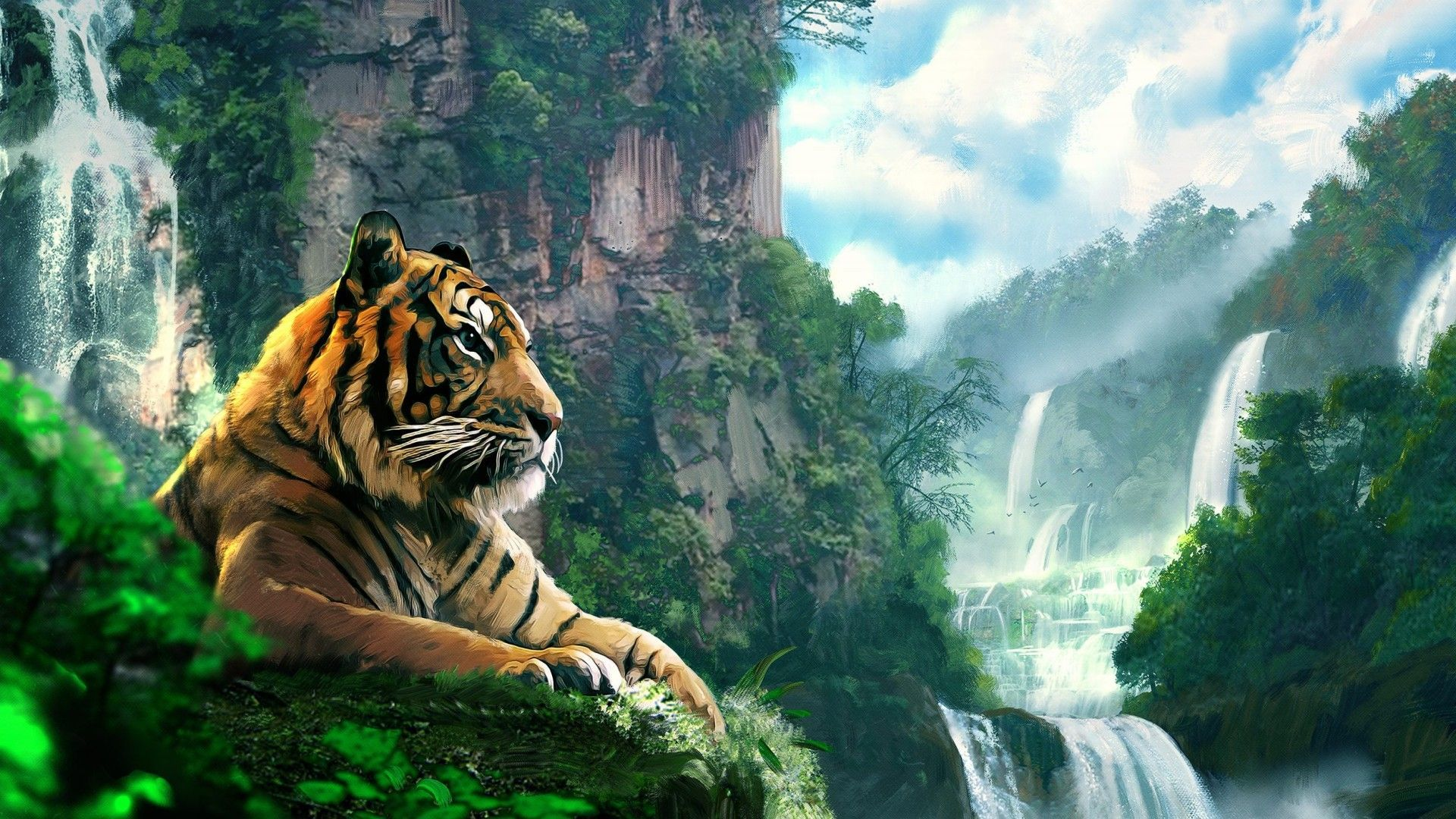 Tiger Art Painting Wallpaper HD Free Download For Desktop