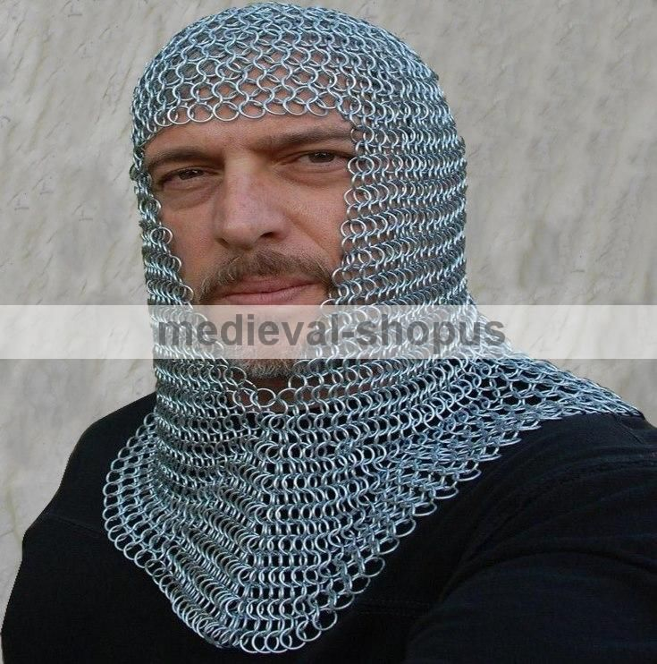 chainmail coif zinc butted medieval chain-mail hood larp re-enctment v neck
