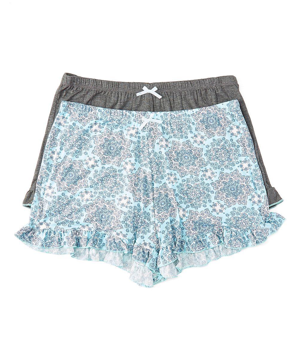abc0efc8ec12 Gray & Light Blue Geometric Ruffle-Hem Boxers Set   Products   Lace ...
